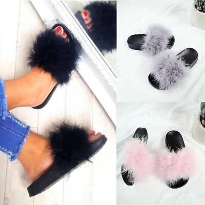 Ladies Womens Flats Fur Slip On Comfy Flip Flop Slider Slippers Rubber Sandals