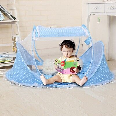 2 Colors Portable Folding Baby Mosquito Tent Travel Cradle Infant Pad +Pillow