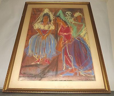 Signed 1967 (unreadable maybe Garcia) Wedding & Skeleton Pastel Painting Framed