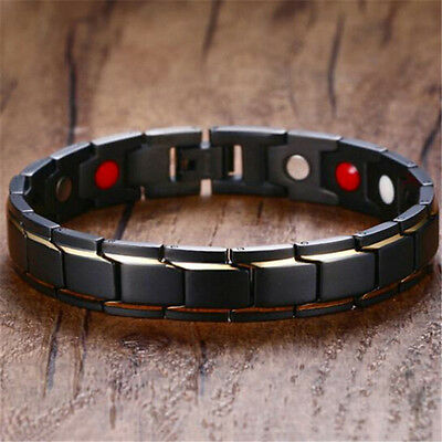 Men's Black Gold Titanium Steel Magnetic Bracelet Fashion Jewelry 22cm*12mm