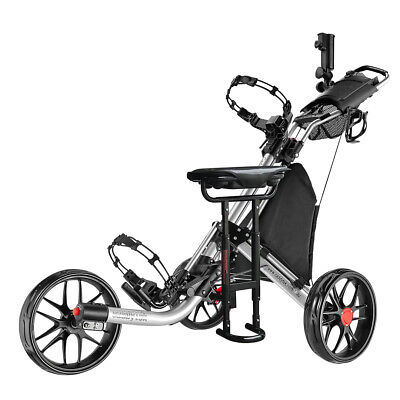 CaddyTek CaddyLite EZ-Fold 3 Wheel Golf Buggy / Push Cart Silver +Removable Seat
