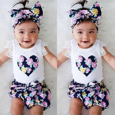 Baby Girls Lace Tops T-shirt+Floral Shorts Pants Summer Outfits 3PC Set Clothes