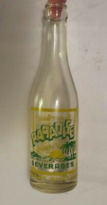 "Rare Canadian (Montreal) ""paradise Beverages"" 8 Oz Clear Bottle-Green/yellow Acl"