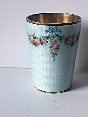 Silver Cup with Guilloche Enamel