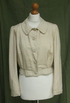 Vintage cream textured silk jacket 30s 40s size 10