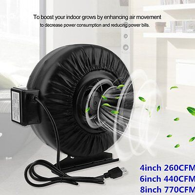 "Strong  4"" 6"" 8""  Inch Inline Exhaust Duct Fan Air Cooling Blower Hydroponic B2"
