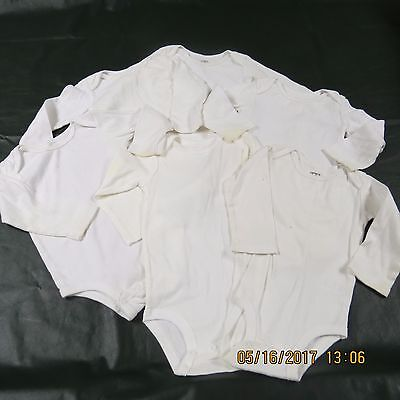 Carters Baby Boy Girl Neutral LOT 12 M Months White Body Suits Long Sleeve