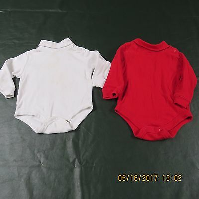 Baby LOT 2 Boy Girl Neutral 12 M Months White Red Body Suits Long Sleeve