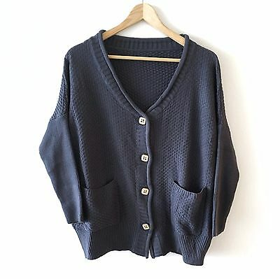 Chunky KNIT knitted Cardigan Blue Long Vintage Retro Style jumper sweater Top