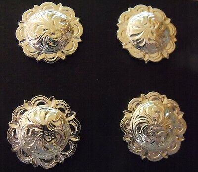Horse show Number Holders Set  4  Floral domed scalloped  Easy on: LARGER size
