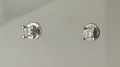 Diamond solitaire stud earrings Princess diamonds 0.20 carats 9 carat white gold