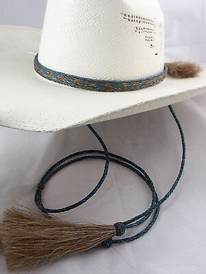 Cowboy hat horsehair stampede string chin strap, horsehair hat band SET Teal