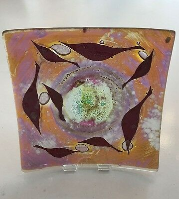 Genuine Jo Downs Bespoke Fused Glass 14cm Dish Direct From The Studio