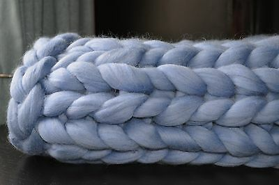 Pure 100% Merino Wool Chunky Knit Blanket / Throw in BLUE colour