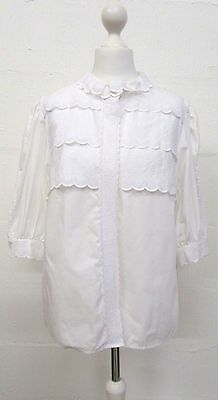 VINTAGE 70s WHITE EMBROIDERED SCALLOPED SHIRT SIZE 14 WIKO TRACHTEN - GERMANY