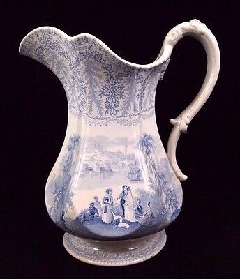Transferware BALTIMORE Pitcher American Cities Secenry c1830s Charles Meigh Blue