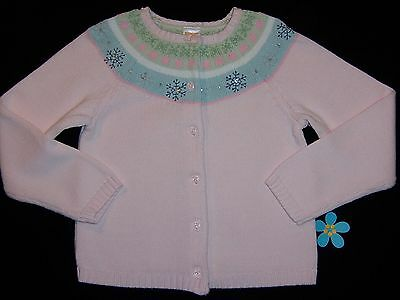"Gymboree girls ""SNOW PRINCESS"" sz 7 FAIRISLE SWEATER...PINK CARDIGAN...OUTLET"