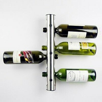 Stainless Steel 8 Hole Wall Mounted Bottle Kitchen Bar Wine Rack Holder Stand UK
