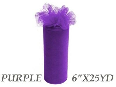 Wedding & Event Fabric - Tulle Roll - 6inch x 25yd - Purple (15cm x 22.9m)
