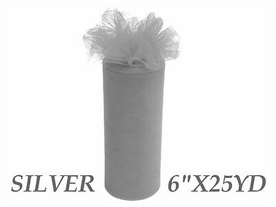 Wedding & Event Fabric - Tulle Roll - 6inch x 25yd - Silver (15cm x 22.9m)