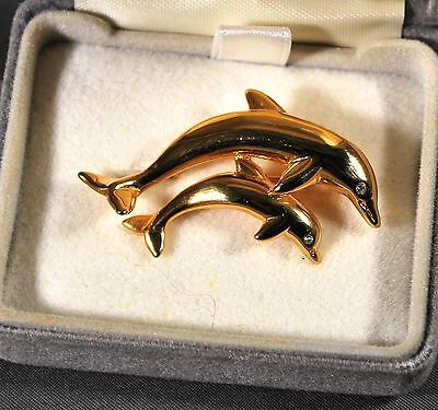 Gold Dolphin Pin Vintage Krementz Dolphin Brooch Mother & Baby Dolphin Pin