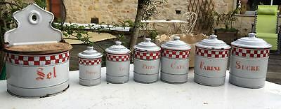 Enamelware Checkered Red W Checks Lustucru CANISTER SET SEL CAN French Antique