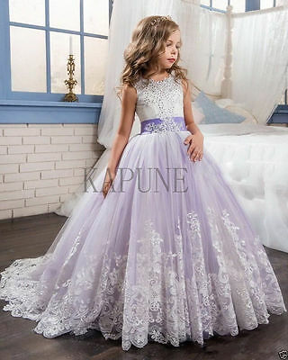 Girl's Lace Dress Bridesmaid Party Princess Prom Wedding Christening 2-14 Years