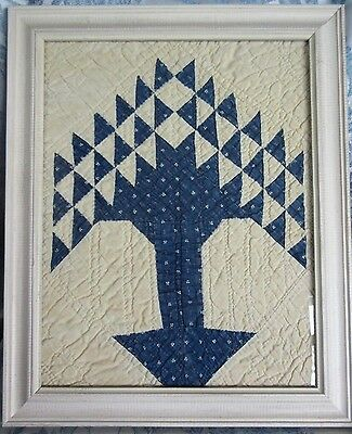Antique Tree of Life Quilt Piece Framed Wall Hanging Blue Indigo Fabric Handmade