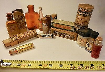 14 Vintage Adv.medical Bottles, Boxes, Wooden & Cardboard Containers-Laxatives++