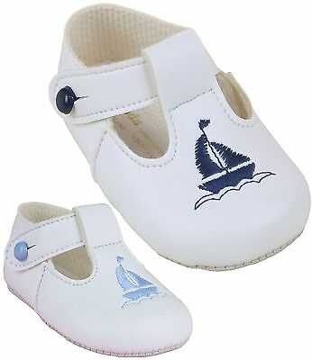 BabyPrem Baby Boys Pram Shoes Baypods White Blue Pre-Walkers 0 - 18 months