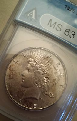 1925 P ANACS MS 63 Peace Silver Dollar!  WOW! SHIPS FREE! Nice coin!
