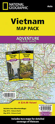 North & South Vietnam Adventure Travel Map Bundle National Geographic Waterproof