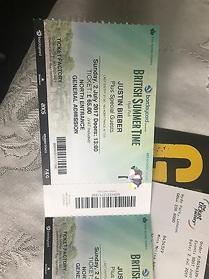 3 X Justin Bieber Tickets Sunday 2nd July Hyde Park London