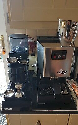 Gaggia Classic Coffee Machine With Gaggia Mdf Grinder Complete With Attachments