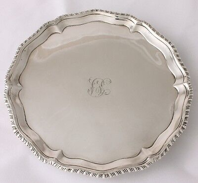 George III English Sterling Silver Salver / Card Tray Richard Rugg 1773