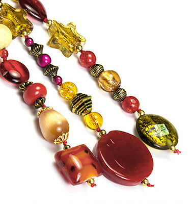 OOAK Red / Gold Beads Bag Charm, Key Ring, Hanging Charm, Purse Charm, Gift