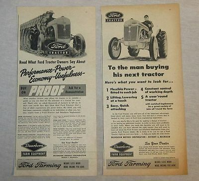 Lot of 2 Ads - 1949 Ford Tractor & Dearborn Implements - Farm Equipment