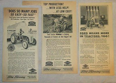 Lot of 3 Ads - 1951 Ford Tractor & Dearborn Implements - Farm Equipment