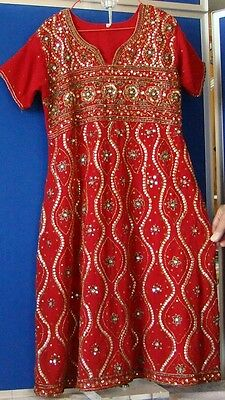 """GORGEOUS Girls LONG INDIAN Party DRESS Red w. SEQUINS & BEADS 31"""" Chest ETHNIC"""
