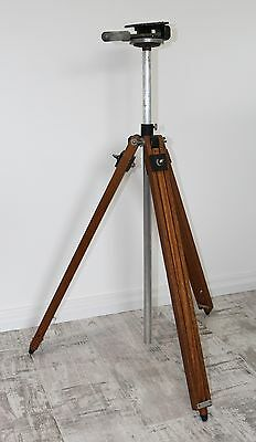 Vintage Adjustable Tripod Stand with Movable Top Metal & Wood with Rubber Feet
