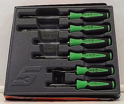 Snap On Screwdriver Set Green Soft Grip Combination 6 Pc Set  Free Shipping