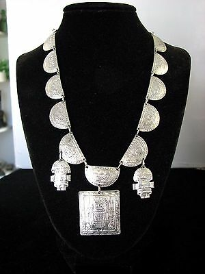 Beautiful ~ Vintage Peru ~ Sterling 925 Silver ~ Handmade Aztec Charm Necklace