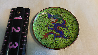 Chinese Copper Cloisonne Enamel Lucky Dragon Flower Dish