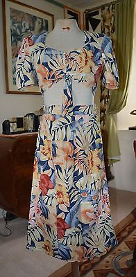 1940s/50s Original American two piece summer outfit-Tropical print-12UK