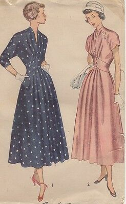 Vintage 1940s Simplicity Sewing Pattern Junior Miss & Misses' One-Piece Dress