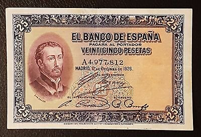 Billete 25 Pesetas 1926 Con Sello En Seco