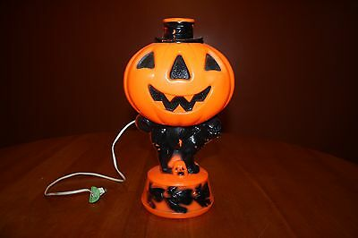 Vintage Empire Lighted Blow Mold Black Cat Pumpkin Hat Jack-o-Lantern Halloween