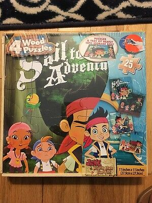 Jake And The Neverland Pirates, 4 Wood Puzzles 25 Piece New