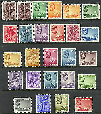 Seychelles 125a/148 VF MH chalky paper set, KGVI 1938-49 issue, shades CV $476+