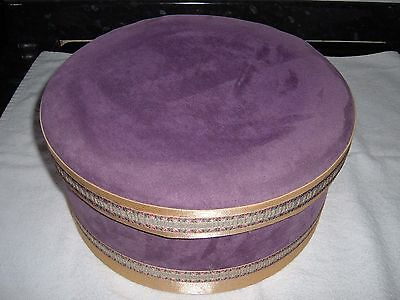 Large Hat Box Covered In Lilac Velour  Gold Braid Trim